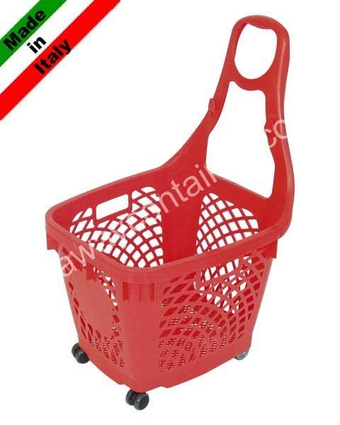 Cestone spesa in plastica con ruote 66 litri