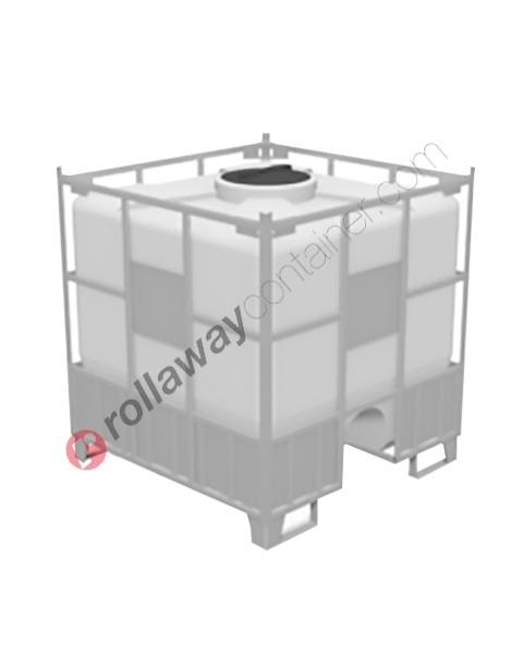 Cisterna in plastica pallettizzata con rinforzi per stoccaggio e trasporto liquidi