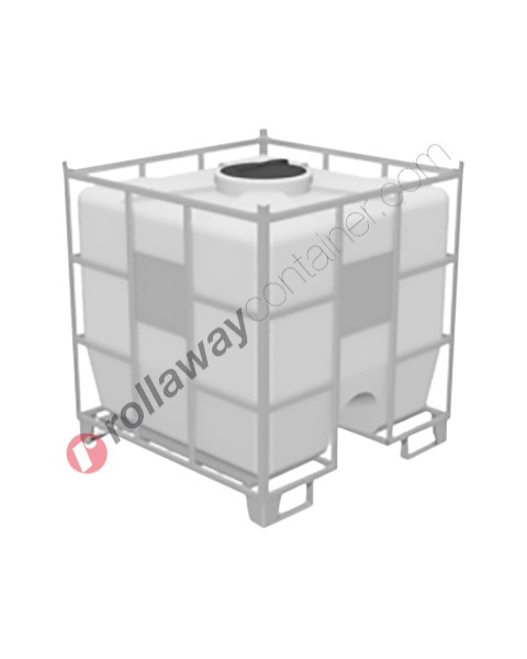 Cisterna in plastica pallettizzata con protezioni laterali per stoccaggio e trasporto liquidi
