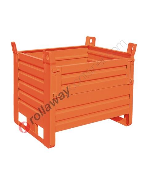 Contenitore in lamiera pesante con slitte lato corto e porta lato lungo
