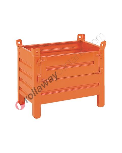 Contenitore in lamiera piccolo con piedi scatolati e porta in lamiera