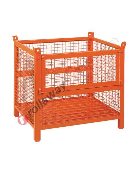 Contenitore in rete metallica alto con piedi scatolati e porta