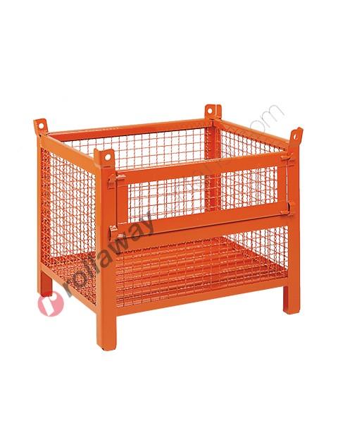 Contenitore in rete metallica basso con piedi scatolati e porta