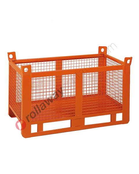 Contenitore in rete metallica pesante con slitte lato lungo gran volume