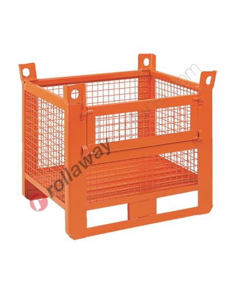 Contenitore in rete metallica pesante con slitte lato lungo e porta
