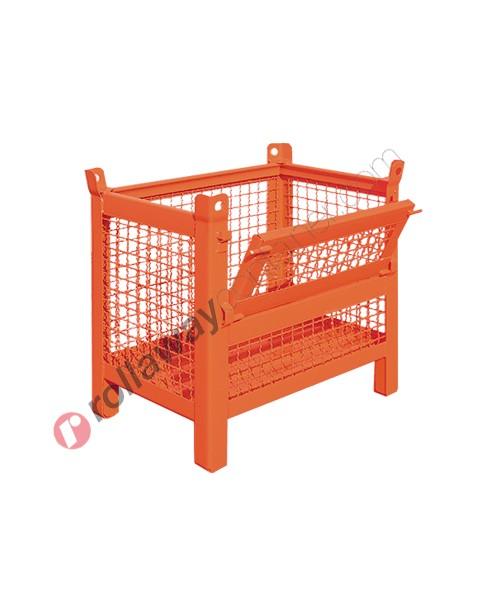 Contenitore in rete metallica piccolo con piedi scatolati e porta