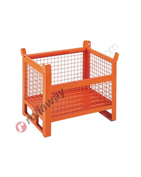 Contenitore in rete metallica piccolo con slitte lato corto e parete 3/4
