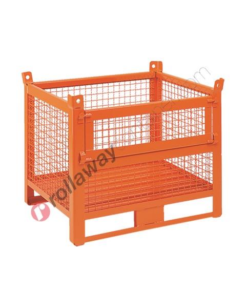 Contenitore in rete metallica con slitte lato lungo e porta