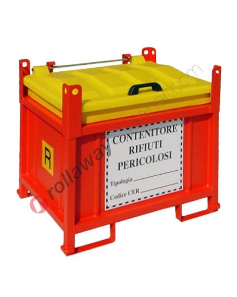 Contenitore rifiuti pericolosi in polietilene e telaio in acciaio chiuso