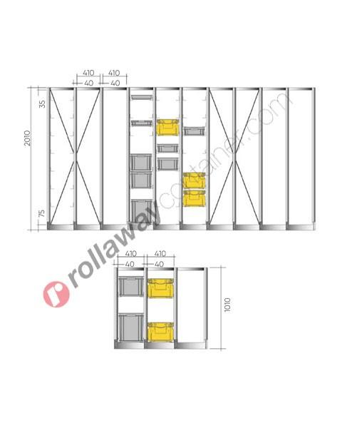 Configura la tua scaffalatura per cassette in plastica 600 x 400 mm