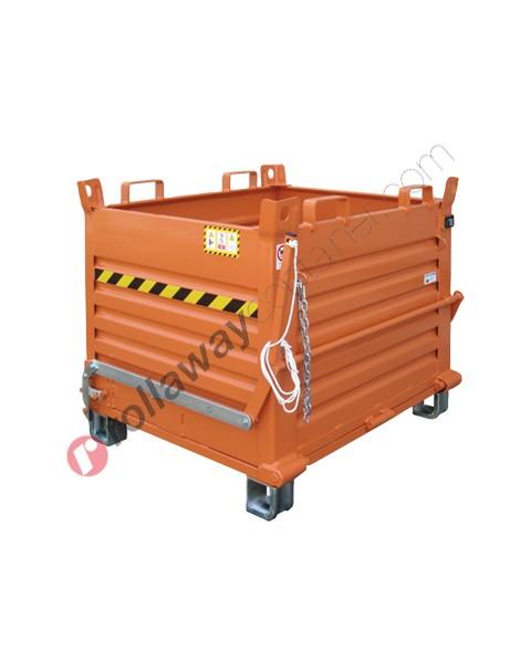 Contenitore a fondo apribile con fondello unico e piedi zincati portata 1350 kg