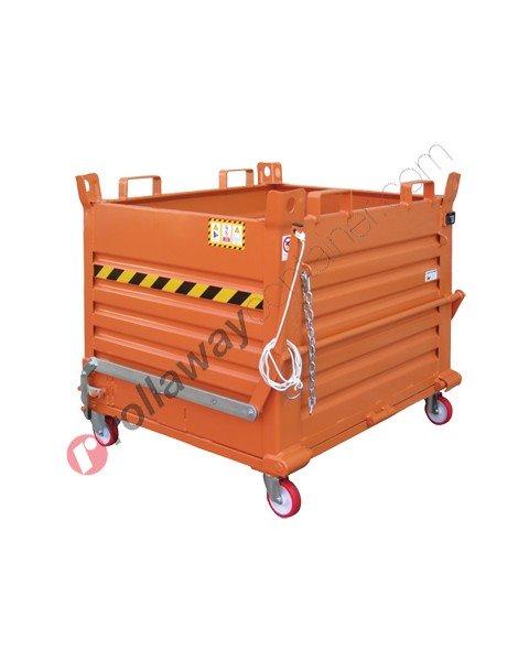 Contenitore a fondo apribile con fondello unico e ruote portata 1350 kg