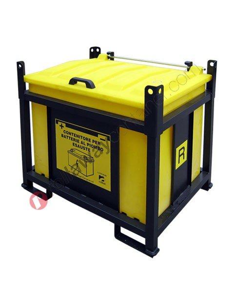 Contenitore batterie esauste in polietilene e telaio in acciaio aperto