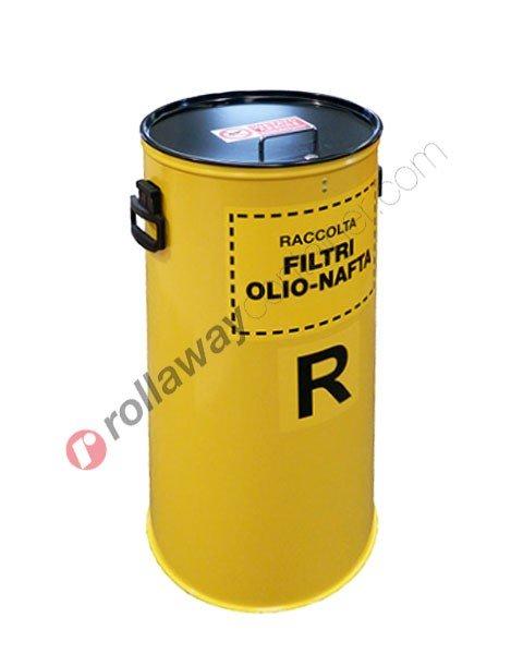 Contenitore filtri olio esausti cilindrico