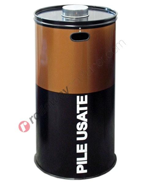 Contenitore pile esauste in acciaio capacità 100 litri
