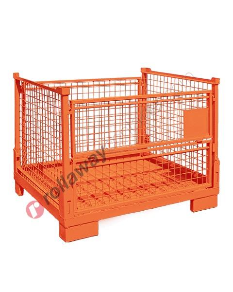 Contenitore in rete metallica pieghevole e sovrapponibile con porta