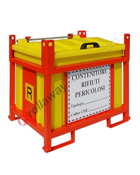 Contenitore rifiuti pericolosi in polietilene e telaio in acciaio aperto