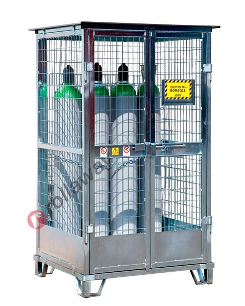 Deposito bombole gas compressi in acciaio zincato con basamento