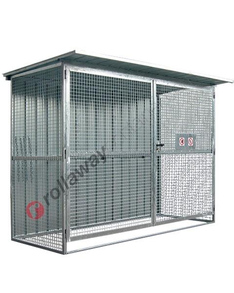 Deposito box bombole gas compressi in acciaio zincato con telaio portante 3180 x 1600 mm