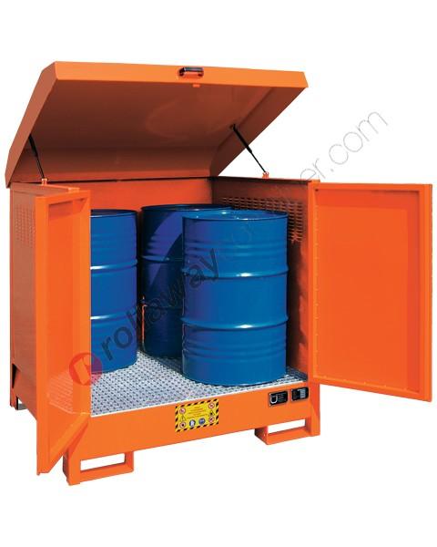 Deposito di stoccaggio in acciaio verniciato 1350 x 1260 x 1540 mm con vasca di raccolta per 4 fusti da 200 lt