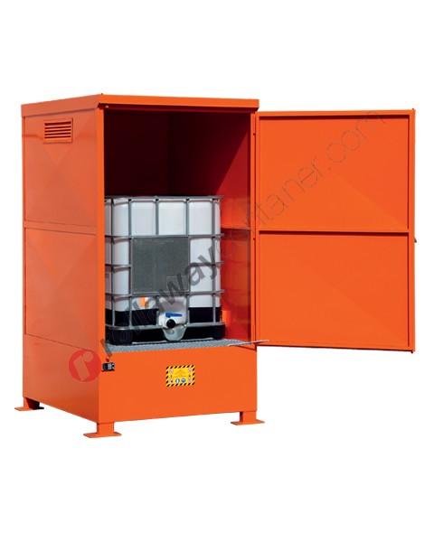 Deposito di stoccaggio in acciaio verniciato 1350 x 1660 x 2535 mm con vasca di raccolta