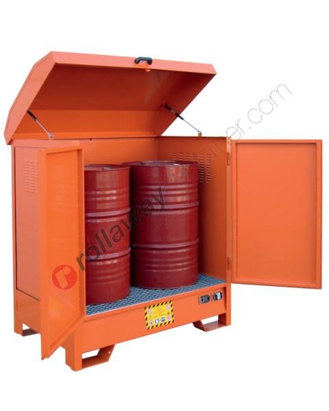Deposito di stoccaggio in acciaio verniciato 1350 x 860 x 1570 mm con vasca di raccolta per 2 fusti da 200 lt