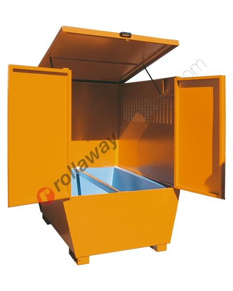 Deposito di stoccaggio in acciaio verniciato 1350 x 1660 x 1900 mm con vasca di raccolta in polietilene