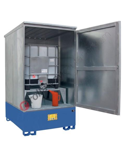 Deposito di stoccaggio in acciaio zincato 1405 x 1810 x 2625 mm con vasca di raccolta