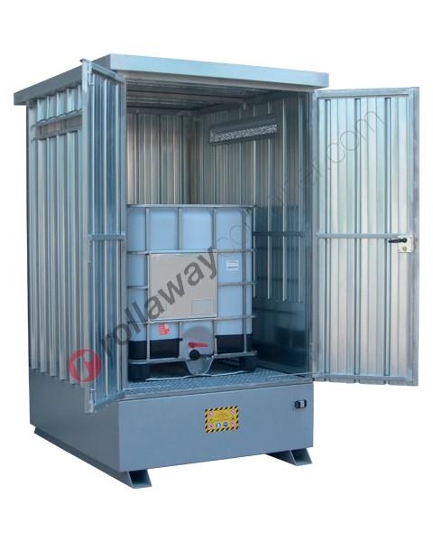 Deposito di stoccaggio in acciaio zincato 1870 x 1560 x 2590 mm con vasca di raccolta
