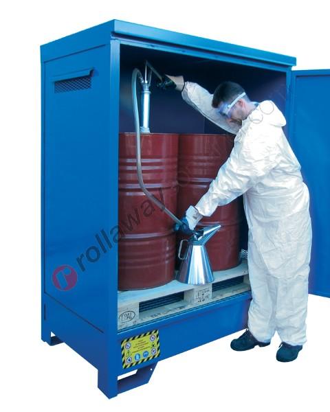 Deposito di stoccaggio in acciaio zincato verniciato 1360 x 920 x 1845 mm con vasca di raccolta per 2 fusti da 200 lt