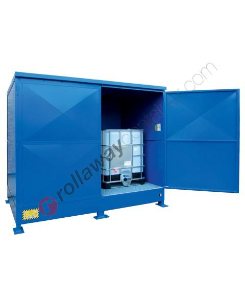 Deposito stoccaggio in acciaio zincato verniciato 2875 x 2020 x 2345 mm con vasca di raccolta