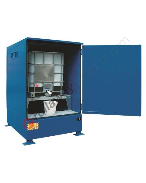 Deposito di stoccaggio in acciaio verniciato 1600 x 1870 x 2565 mm con vasca di raccolta e isolamento termico