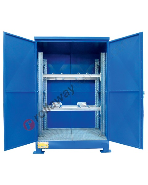 Deposito di stoccaggio in acciaio zincato verniciato 1765 x 1350 x 2550 mm con vasca di raccolta e scaffalatura