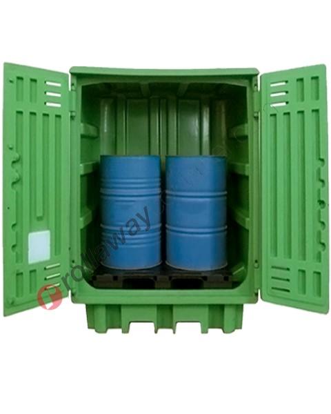 Deposito di stoccaggio in polietilene 1540 x 1000 x 1940 mm con vasca di raccolta per 2 fusti