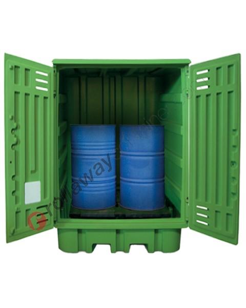 Deposito di stoccaggio in polietilene 1540 x 1600 x 2000 mm con vasca di raccolta per 4 fusti