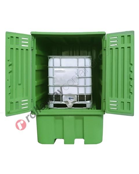 Deposito di stoccaggio in polietilene 1540 x 1600 x 2350 mm con vasca di raccolta