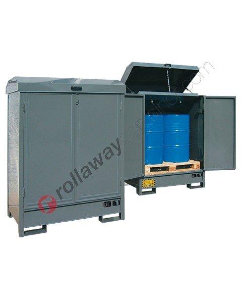 Deposito di stoccaggio in acciaio verniciato 1350 x 860 x 1900 mm con vasca di raccolta per filtri