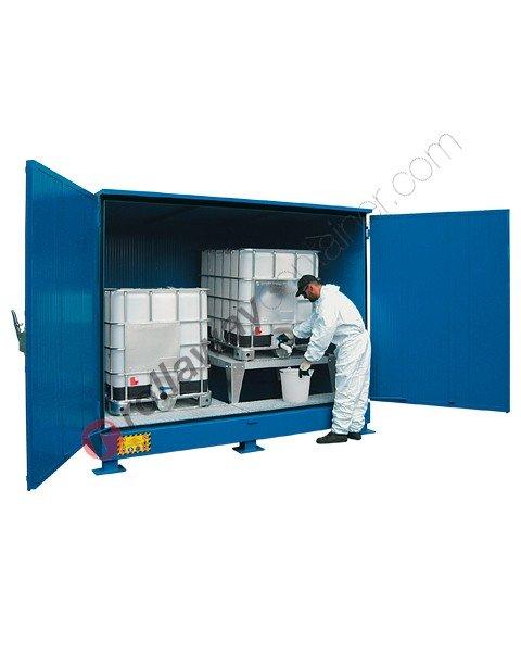 Deposito stoccaggio in acciaio verniciato 2929 x 1867 x 2392 mm con vasca di raccolta e isolamento termico