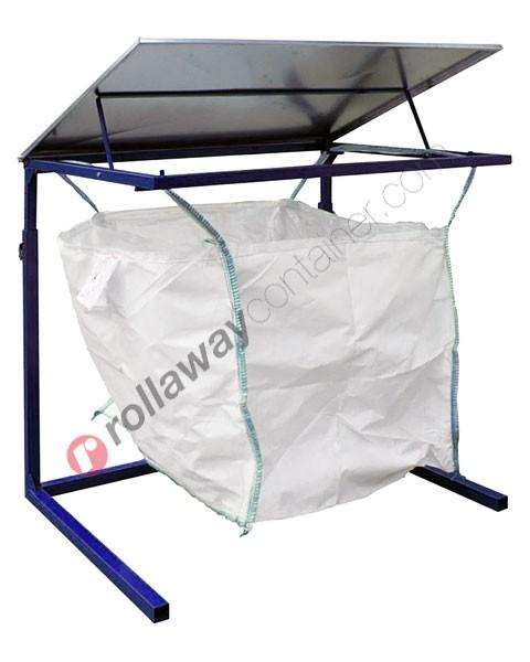 Porta big bag da 1000 litri con struttura tubolare e coperchio in acciaio