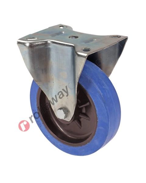 Ruote in gomma elastica piena con supporto fisso in acciaio zincato