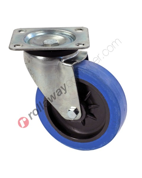 Ruote in gomma elastica piena con supporto girevole in acciaio zincato