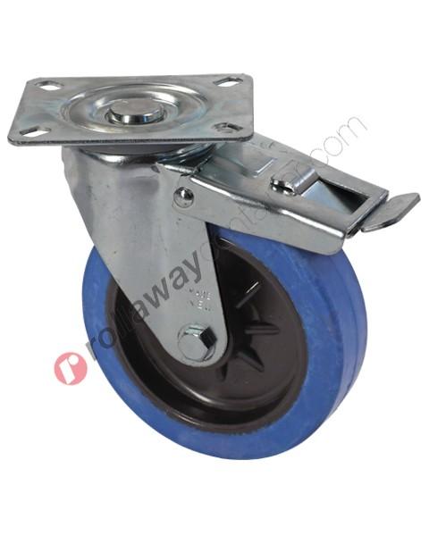 Ruote in gomma elastica piena con supporto girevole con freno in acciaio zincato
