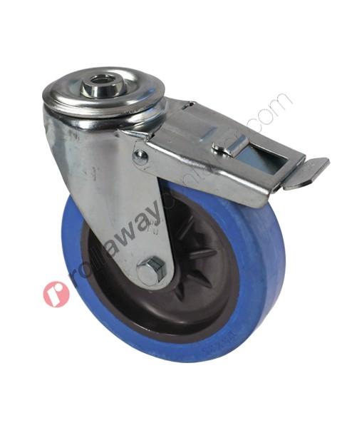 Ruote in gomma elastica piena con supporto piroettante con freno in acciaio zincato