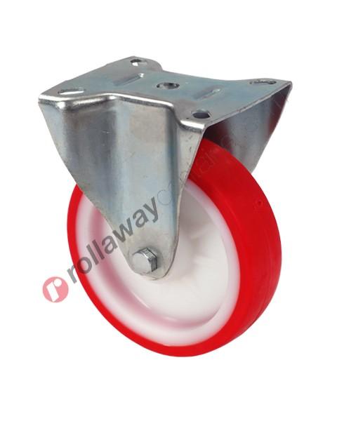 Ruote in nylon poliuretano con supporto fisso in acciaio zincato