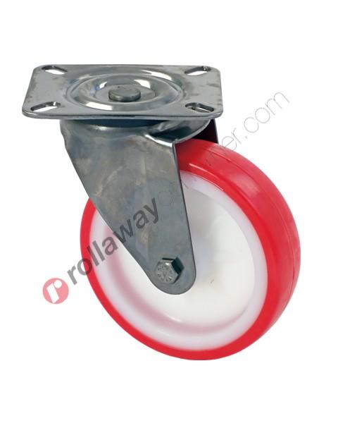 Ruote in nylon poliuretano con supporto girevole in acciaio inox