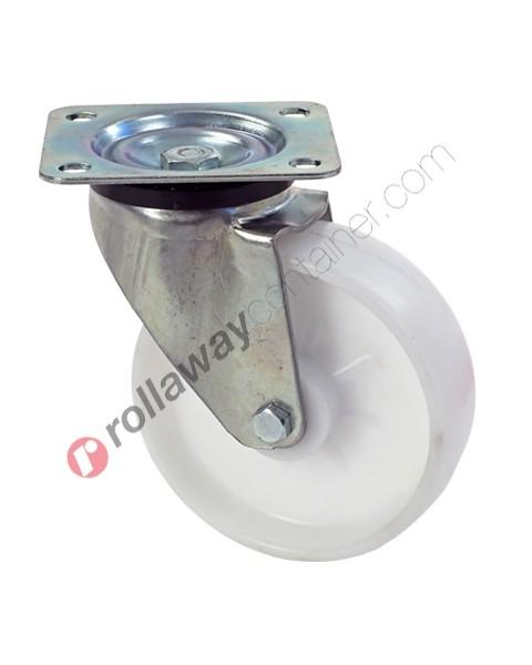Ruote in plastica o polipropilene con supporto girevole in acciaio zincato