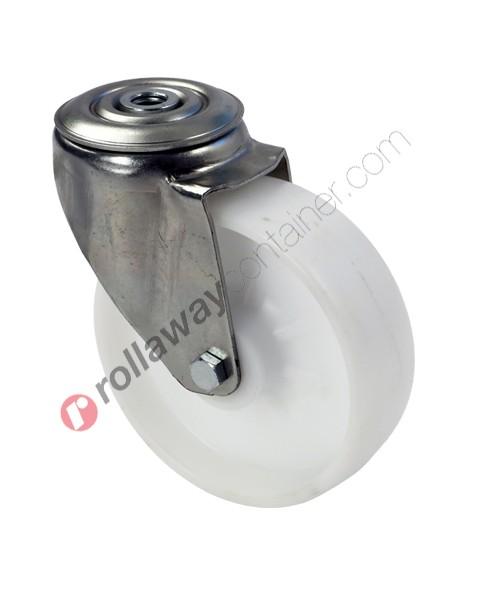 Ruote in plastica o polipropilene con supporto piroettante in acciaio zincato