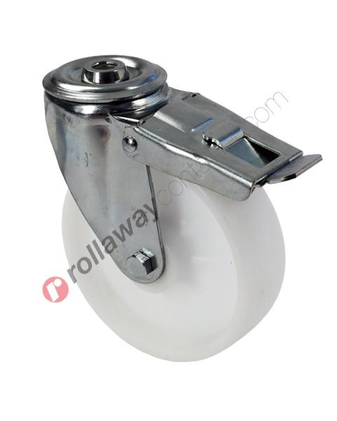 Ruote in plastica o polipropilene con supporto piroettante con freno in acciaio zincato