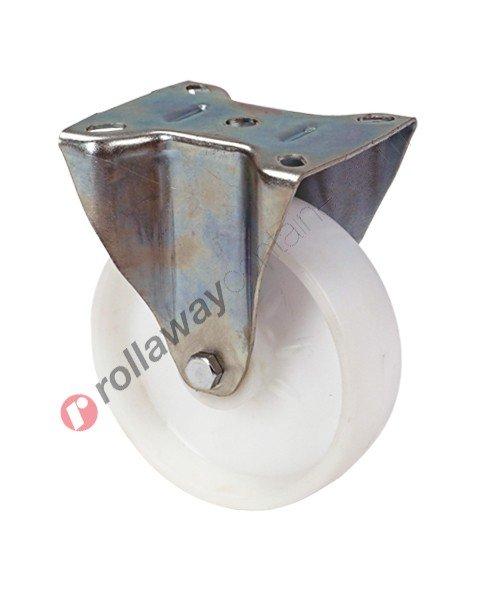 Ruote in nylon con supporto fisso in acciaio zincato
