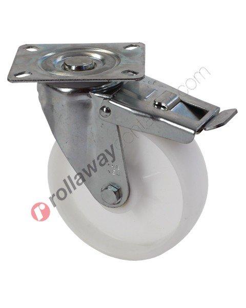 Ruote in plastica o polipropilene con supporto girevole con freno in acciaio zincato